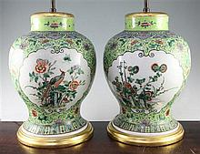 A pair of Chinese famille verte baluster jars, late 19th century, vases approx. 35cm