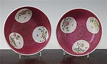 A pair of Chinese ruby ground bowls, Republic period, 18.5cm