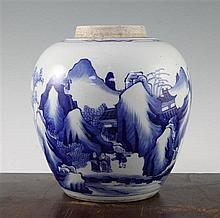 A Chinese blue and white ovoid jar, in Kangxi style, 23cm
