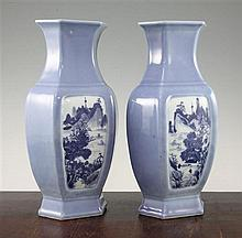 A pair of Chinese blue ground hexagonal baluster vases, Republic period, 30.5cm, bases drilled