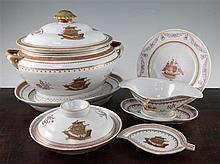 A Chinese export style enamelled porcelain twenty nine piece dinner service, soup tureen 35cm