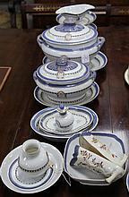 A Chinese export style armorial twenty three piece dinner service, first half 20th century, soup tureen 35cm