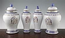 Two pairs of Chinese export style baluster vases and covers, first half 20th century, 18.5cm and 17cm