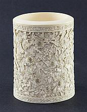 A Chinese export ivory pot, 19th century, 11cm