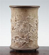 A Chinese bamboo brush pot, 19.5cm