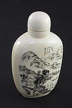 A Chinese engraved ivory snuff bottle, early 20th century, 8cm incl. stopper