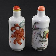 Two Chinese enamelled porcelain cylindrical snuff bottles, 1821-1850, 7.5cm
