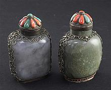 Two Tibetan style mounted jade snuff bottles, 1880-1920, 7.8cm incl. stopper