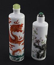 Two Chinese enamelled porcelain cylindrical snuff bottles, 1820-1900, 8.2cm