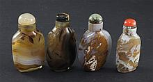 Four Chinese agate and chalcedony snuff bottles, 1850-1950, 5.1 - 5.7cm