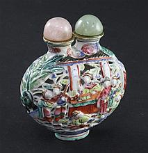 A Chinese moulded famille rose double snuff bottle, 1820-1850, 6cm, faults