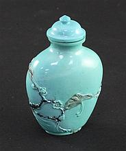 A Chinese turquoise matrix snuff bottle and stopper, 1900-1950, 5.5cm incl. stopper