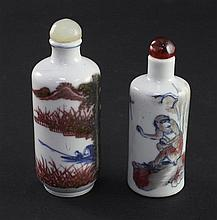 Two Chinese underglaze blue and copper red cylindrical snuff bottles, 1830-1900, 7cm