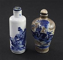 Two Chinese blue and white snuff bottles, 1830-1900, 7cm