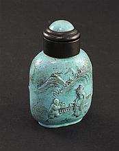 An unusual Chinese 'robin's egg' glazed and moulded porcelain snuff bottle, 1850-1900, 5.6cm, re-touching to glaze