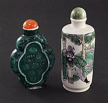 Two Chinese enamelled porcelain snuff bottles, 1830-1900, 6.8cm