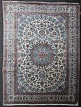 A Nain part silk carpet, 11ft 2in by 8ft.