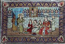 A small Persian pictorial rug, 3ft 3in by 2ft 3in.