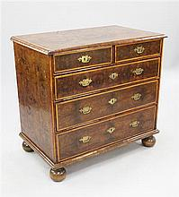 A late 17th century William & Mary oyster veneered chest, W.3ft 1.5in.
