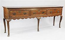 A George III oak Shropshire dresser base, W.7ft 6in.