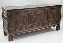 A 17th century Flemish oak dresser base, W.5ft 10in.