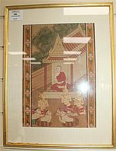 Two Thai paintings on cloth, 19th century, 29 x 21cm and 28 x 20cm, mounted, framed and glazed