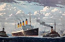Attributed to Odin Rosenvinge (1880-1957) Liner and tug entering harbour 19 x 28.5in.