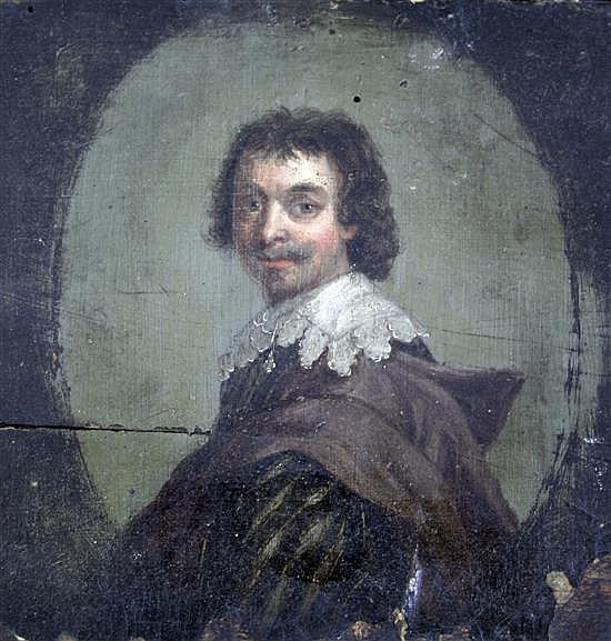 Circle of Johannes Cornelisz Verspronck (1597-1662) Portrait of a young man 8 x 8in.