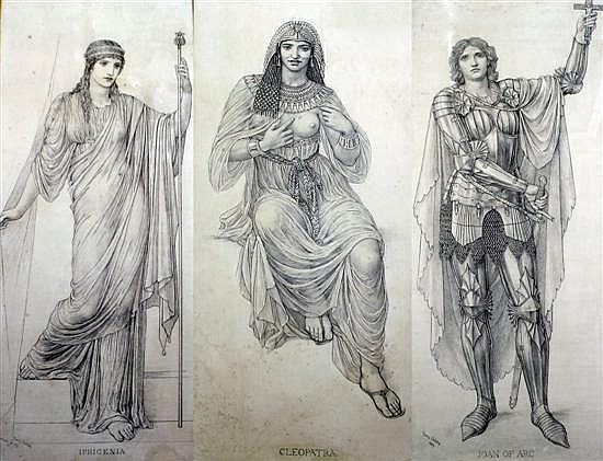 Henry George Holiday (1839-1927) Cleopatra, Joan of Arc & Iphigenia 42 x 18.5in.