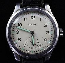 A gentleman's 1940's/1950's steel Cyma military wrist watch,
