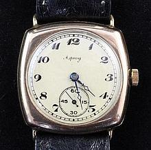 A 1920's? 9ct gold Rolex manual wind wrist watch, retailed by Asprey,