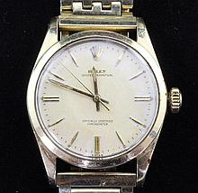 A gentleman's 1950's gold plated and steel Rolex Oyster Perpetual wrist watch,