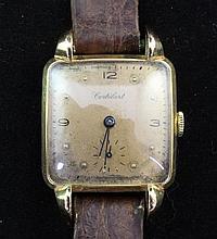 A gentleman's stylish 1930/40's 18ct gold Cortebert manual wind wrist watch,