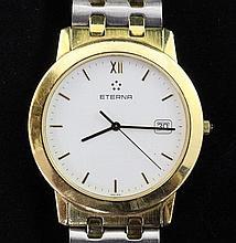 A gentleman's 18ct gold Eterna wrist watch & bracelet, with Eterna box.