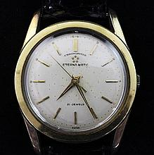 A gentleman's gold plated and stainless steel Eterna Matic chronometer wrist watch,