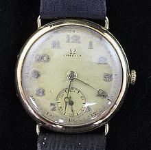 A gentleman's 1930's 14ct gold Omega manual wind wrist watch,