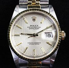 A gentleman's late 1980's stainless steel and gold Rolex Oyster Perpetual Datejust wrist watch,
