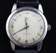 A gentleman's 1950's stainless steel Omega Seamaster manual wind wrist watch,