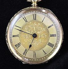 An early 20th century continental 18k gold keywind pocket watch,