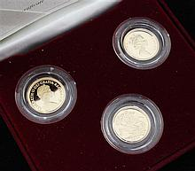 A cased Royal Mint 2004 three coin proof half sovereign portrait set,