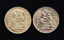 Two gold full sovereigns Victoria 1892 and Edward VII 1905.