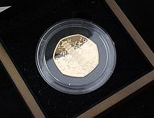 A cased Royal Mint 2009 UK Kew Gardens 50 pence gold proof coin,