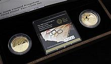 A cased Royal Mint 2008 UK Olympic Games Handover Ceremony Gold Proof £2 two coin set,