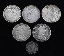 Five English silver crowns, 1707, 1664, 1676, 1819, 1822 & a 1787 shilling.
