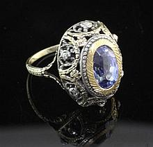An antique gold and silver, sapphire and rose cut diamond ring, size L.