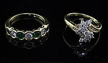 An 18ct gold and seven stone emerald and diamond half hoop ring and an 18ct gold and diamond cluster ring, sizes N & K.