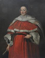 18th century English School Portrait of a Lord Chancellor, in ermine trimmed robes, 50 x 40in.
