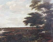 After Jacob Van Ruisdael (1628-1682) Cattle drover in a landscape, 10.75 x 13.5in.