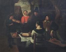 Flemish School Musician and onlookers around the table, 15.5 x 19.5in.