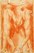 Old Master Classical nudes holding hands, 9 x 5.75in., unframed